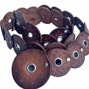 GENUINE LEATHER Round Link Brown Belt. Adjustable